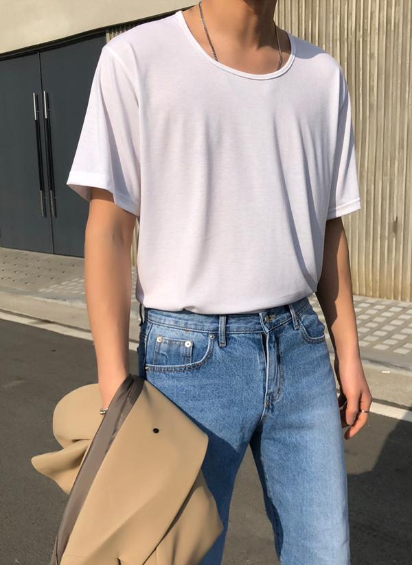 ワイドネック半袖コットンTシャツ