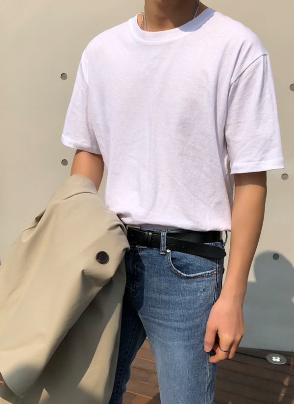 ユニセックスラウンドネック半袖Tシャツ