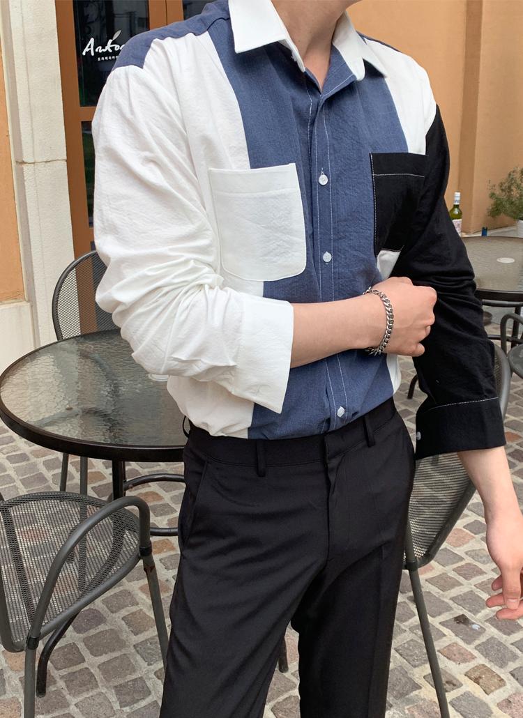 カラーブロックダブルポケットリネンシャツ