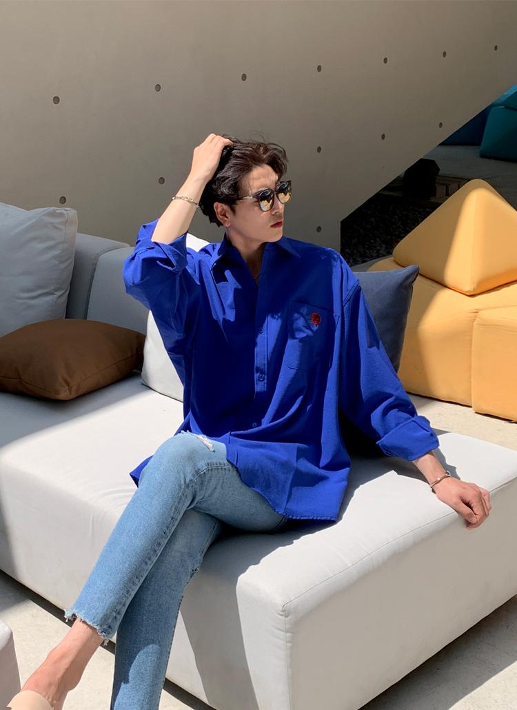 ローズ刺繍ワンポケットシャツ