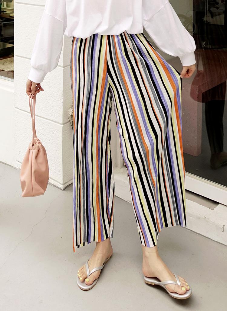 9d8c6a39fc9c57 カラフルストライププリーツパンツ・全2色パンツ・ズボンパンツ・ズボン ...