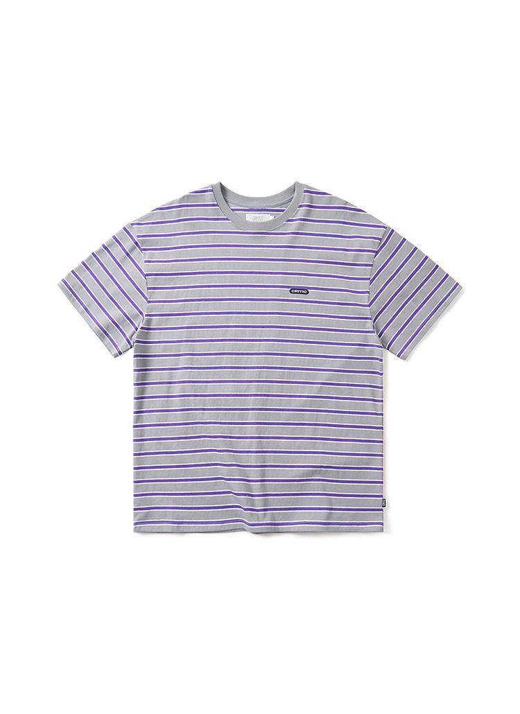 ロゴパッチボーダーTシャツ(チャコール)
