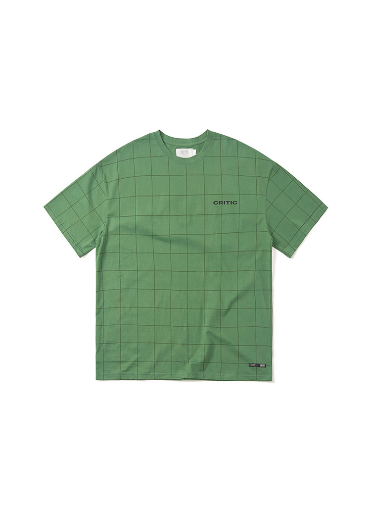 バックロゴグリッドTシャツ(オリーブグリーン)