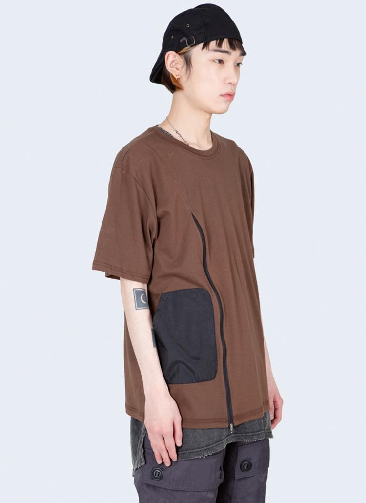 ジッパーポケット配色半袖Tシャツ