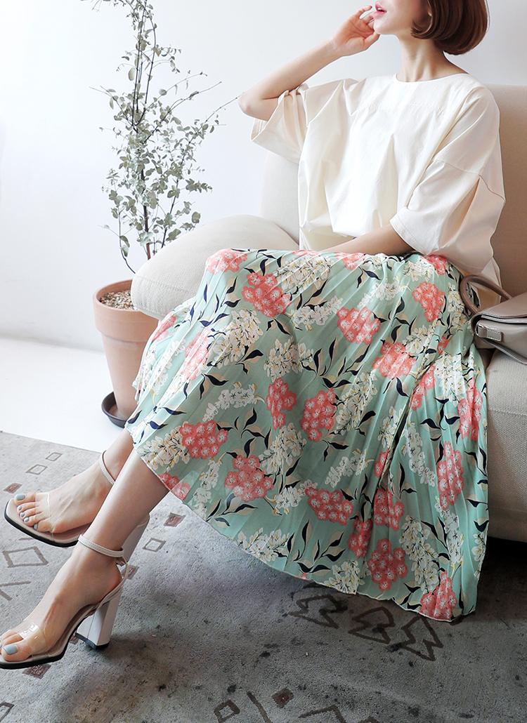プリーツフラワープリントスカート・全2色