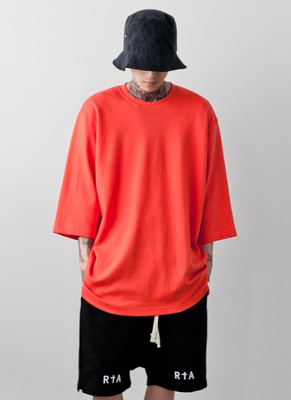 7分丈スリーブボクシーソリッドTシャツ