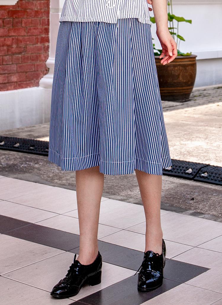 ストライプポケットスカート(ネイビー)