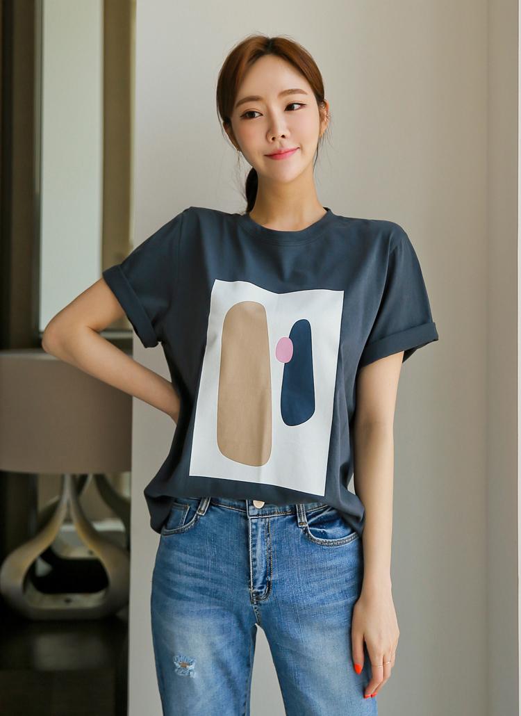 モチーフプリント半袖Tシャツ