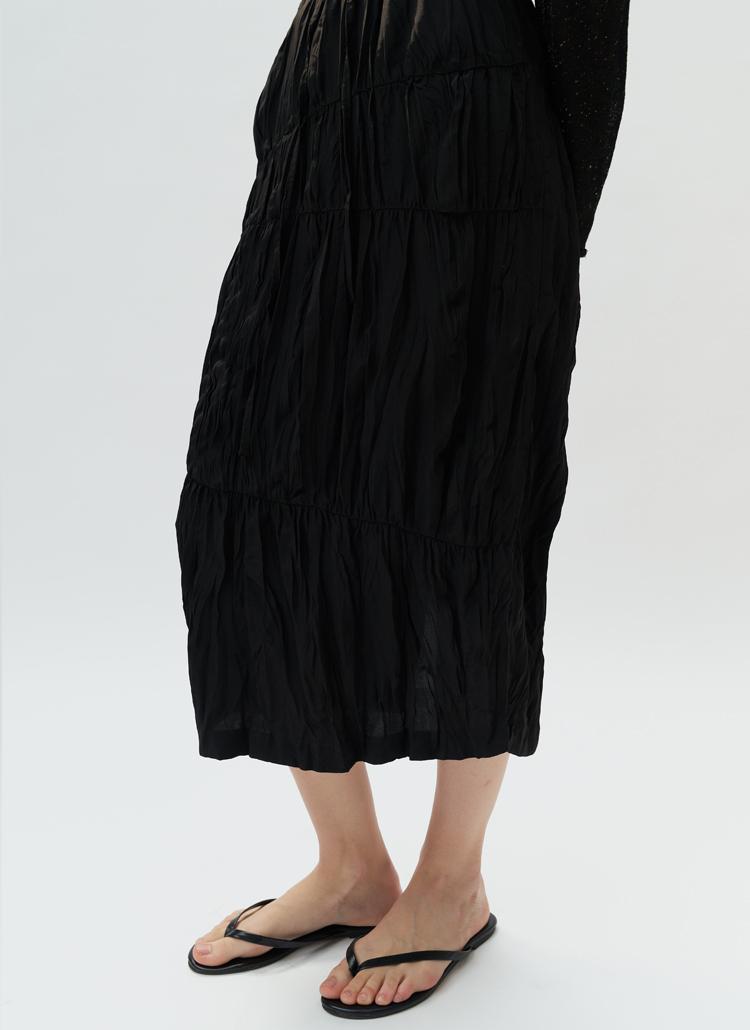 リンクルロングスカート(ブラック)