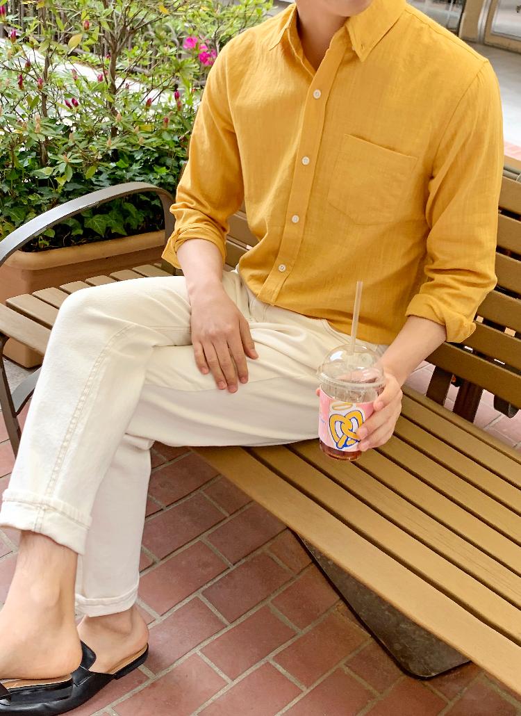 リネン混ボタンダウンシャツ