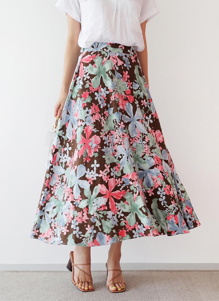 フローラルAラインロングスカート・全2色