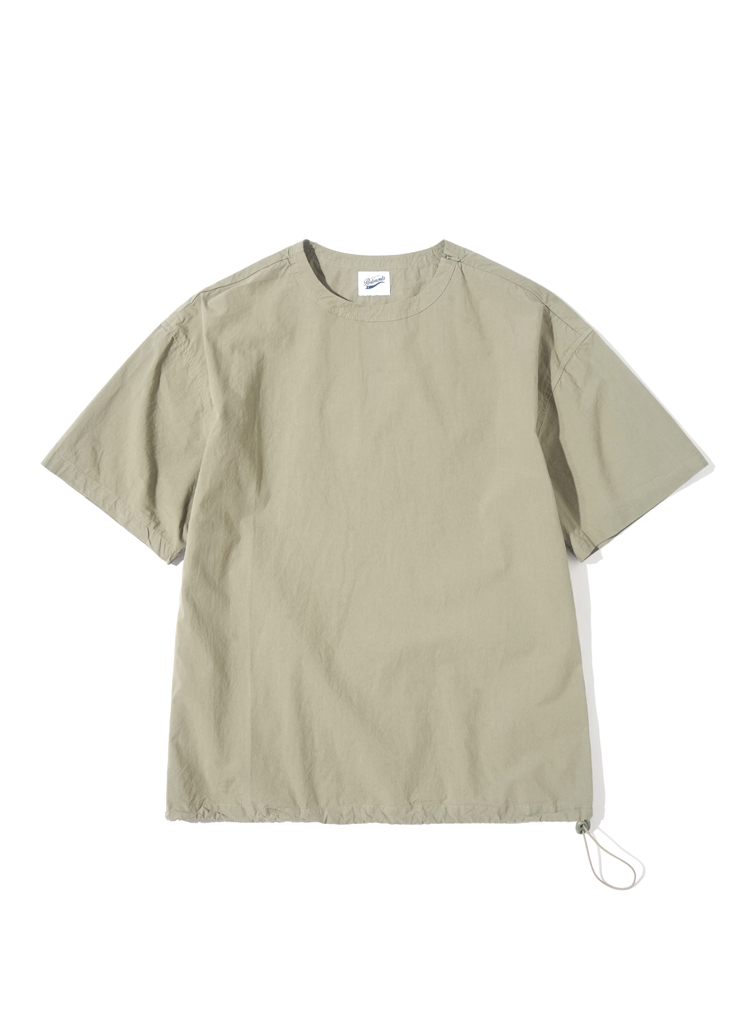 ストリングヘムコットンTシャツ(オリーブカーキ)