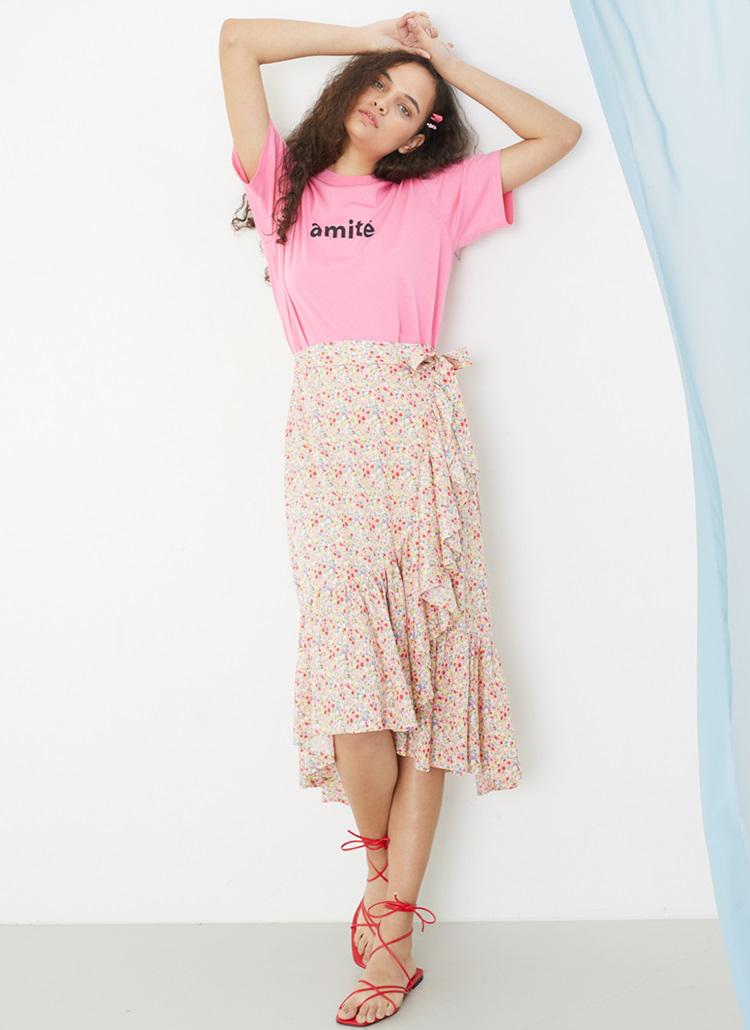 フラワーラップラッフルスカート(ピンク)