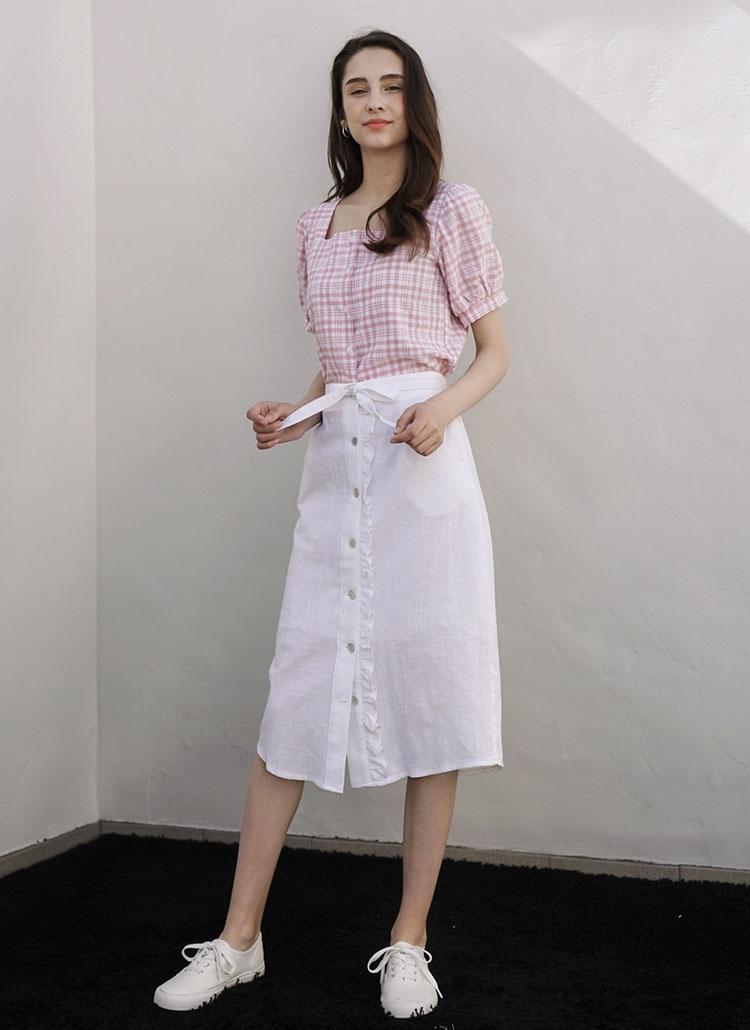 フリルボタンスカート(ホワイト)
