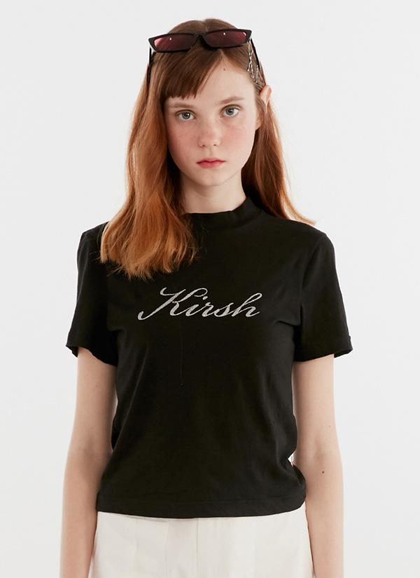 ハーフネックライトTシャツ(ブラック)