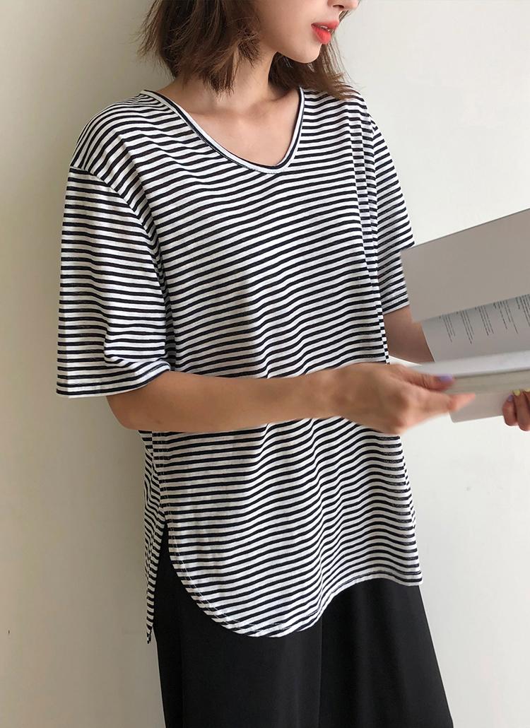 UネックボーダーTシャツ&ワイドパンツSET・全2色