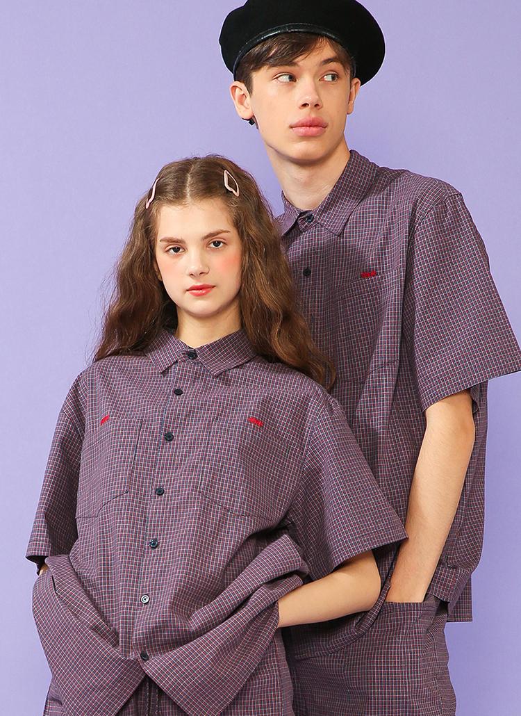 ダブルポケットチェックシャツ(ネイビー)