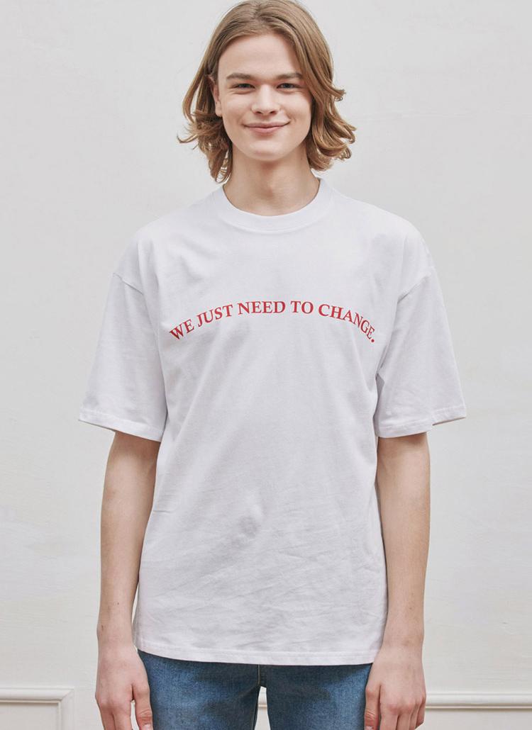 カーブレタリングTシャツ(WHITE)