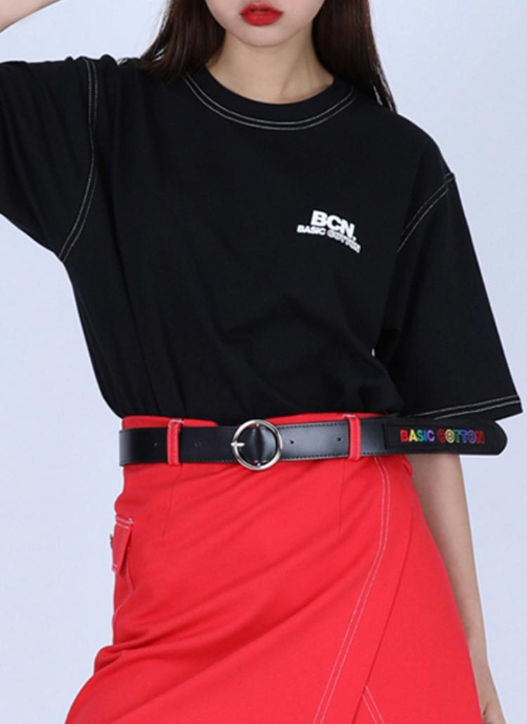 ステッチロゴハーフスリーブTシャツ(ブラック)