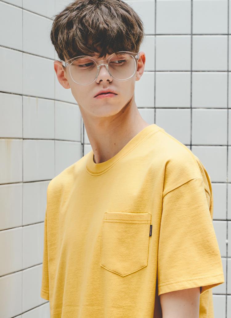 ウォッシュドポケットTシャツ(イエロー)