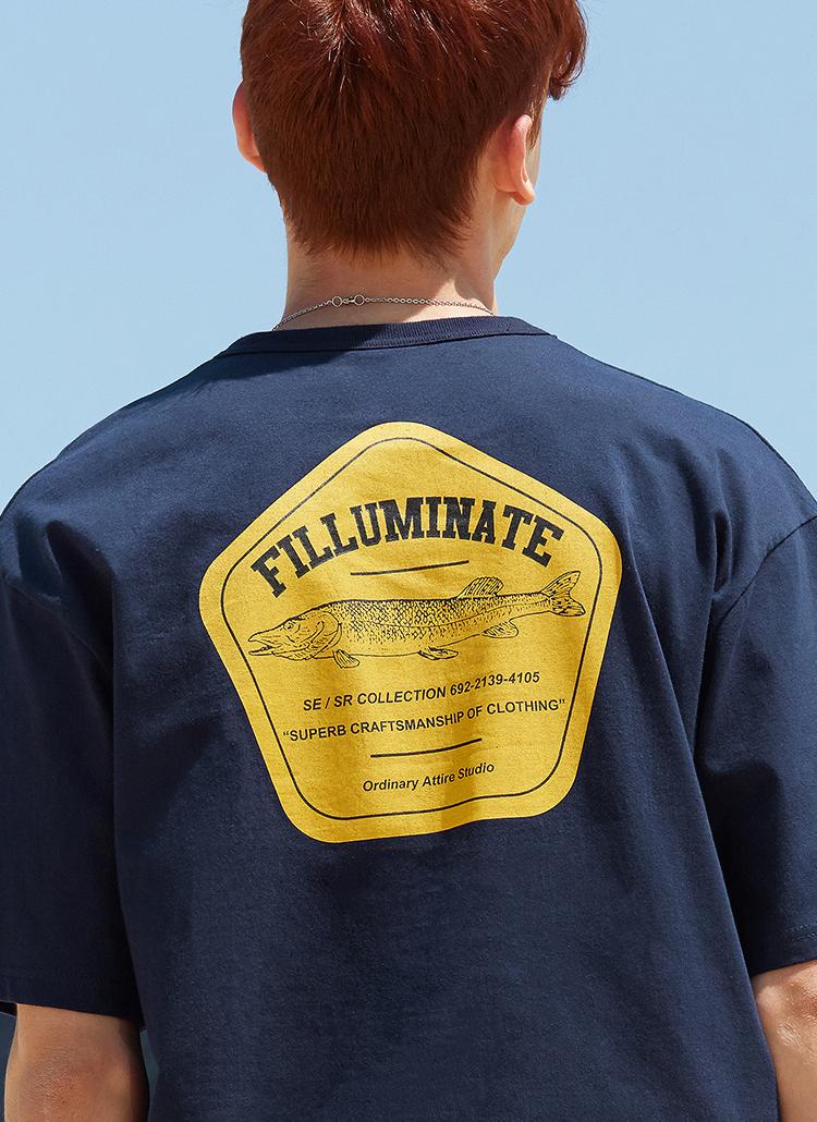 フィッシュロゴTシャツ(ネイビー)