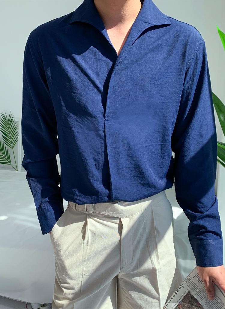 スキッパーカラースナップボタン長袖シャツ