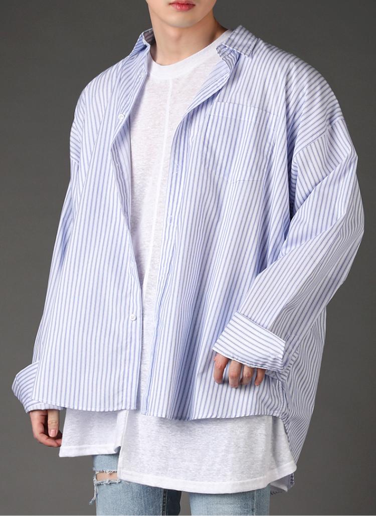 ダブルステッチストライプシャツ