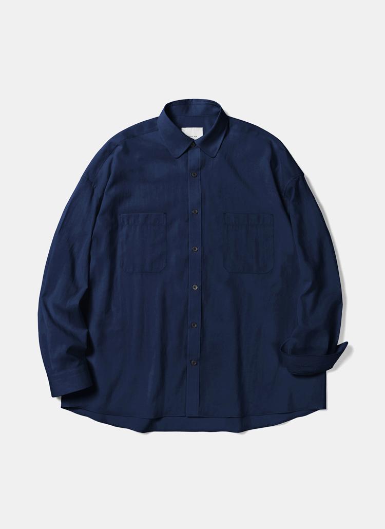 クールポリオーバーフィットシャツ(ネイビー)