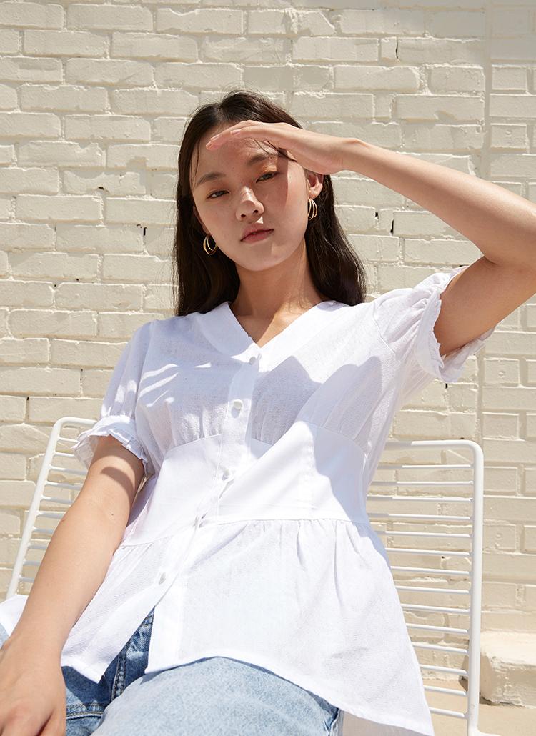 ウエストパネルシャツ(ホワイト)