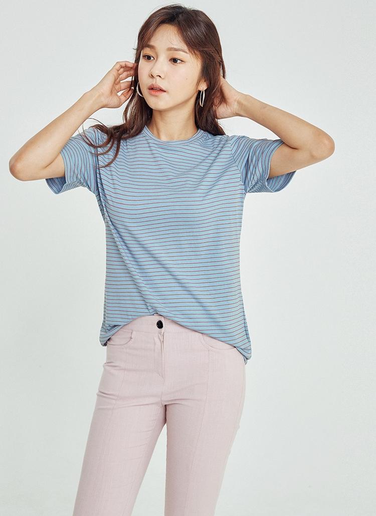 ペンシルボーダー半袖Tシャツ(ブルー)