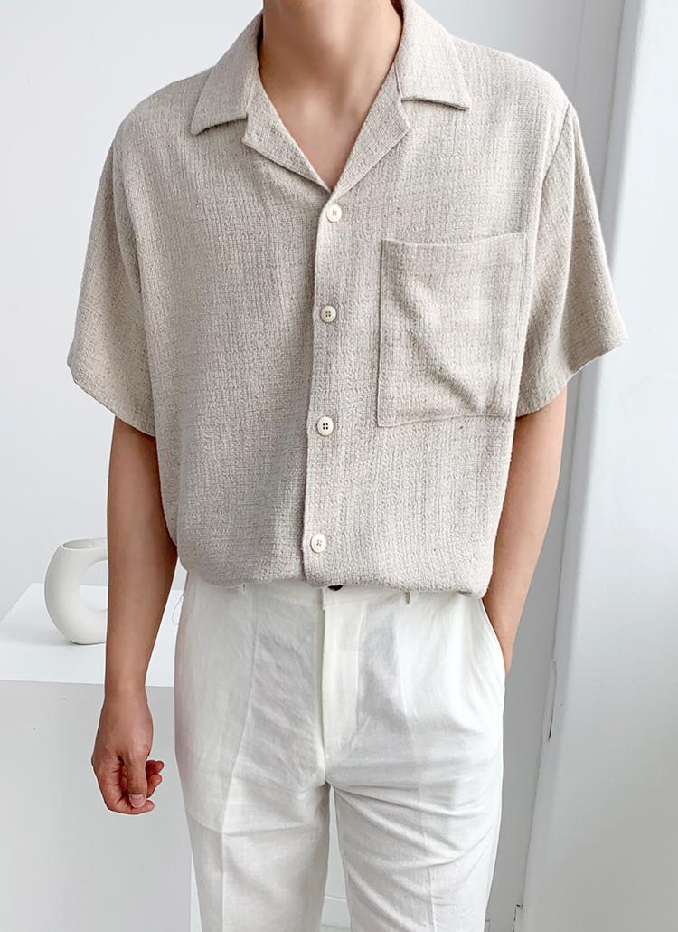 半袖スクエアポケットリネン混シャツ
