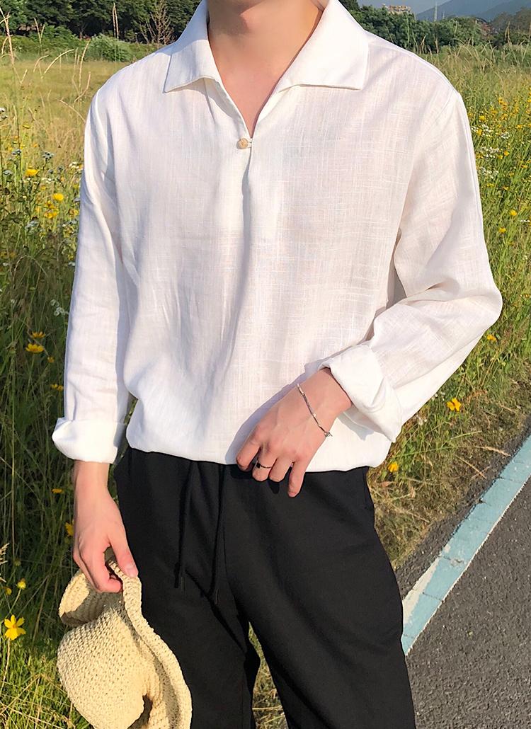 ワンボタンスキッパーカラーリネンシャツ