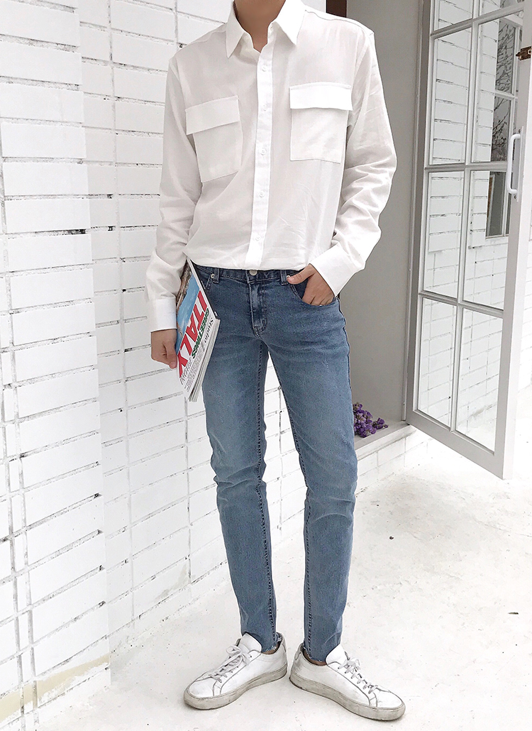 スクエアダブルフラップポケットシャツ