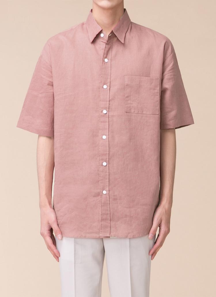 リネン混スクエアワンポケットシャツ