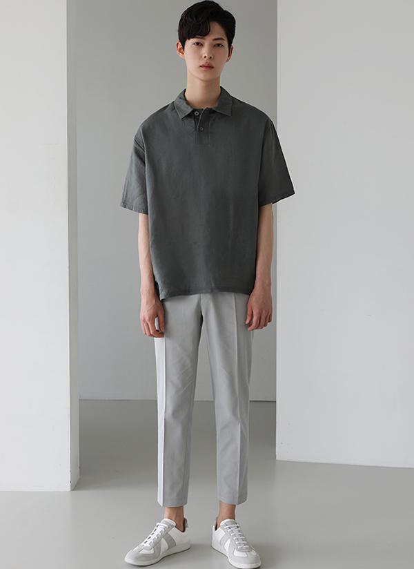 リネン半袖ポロシャツ