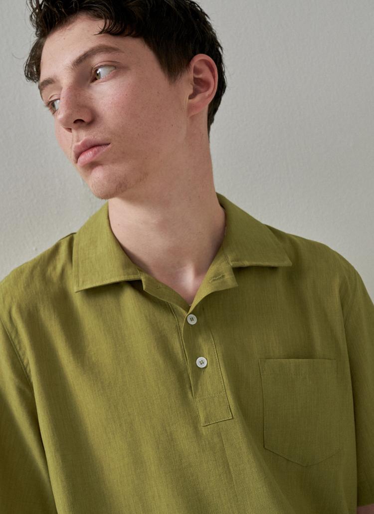 ボタンカラーポケットシャツ(イエローグリーン)