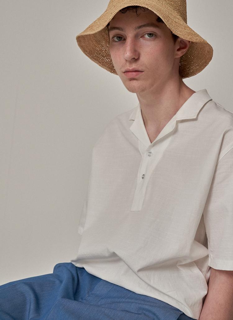 リネン混開襟シャツ(ホワイト)