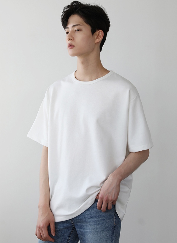 半袖ラウンドコットンTシャツ