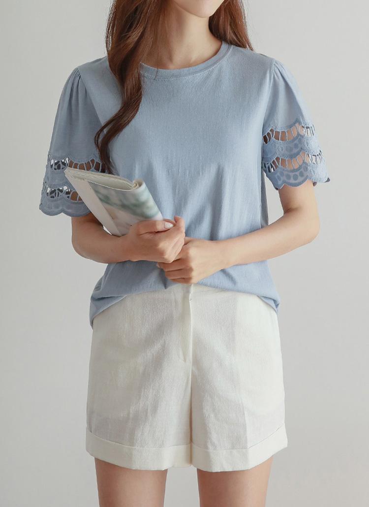 袖パンチングレースTシャツ