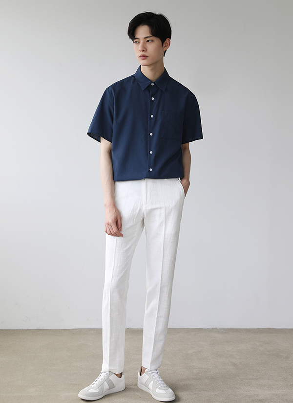 半袖カラーボタンシャツ