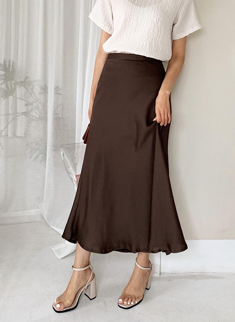シルキーAラインスカート・全5色