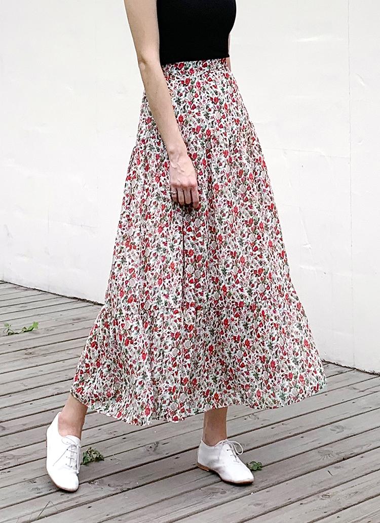 ギャザーフローラルスカート・全2色
