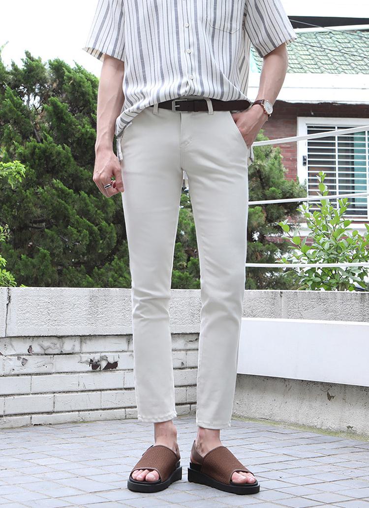 スリムフィット綿混パンツ