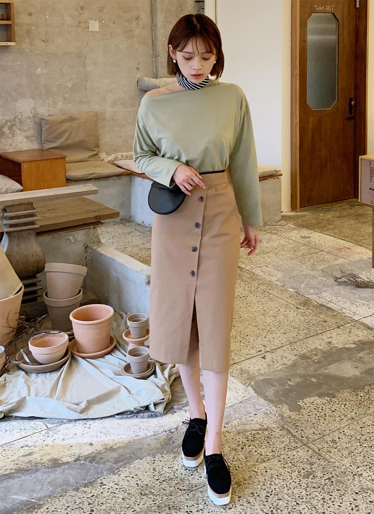 ダイアゴナルボタンスカート・全3色
