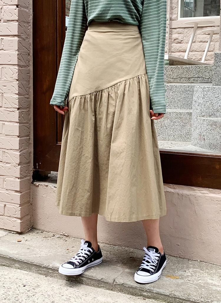 ダイアゴナルギャザースカート・全3色