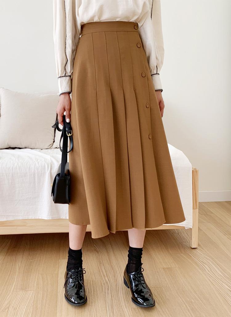 フロントプリーツボタンスカート・全3色
