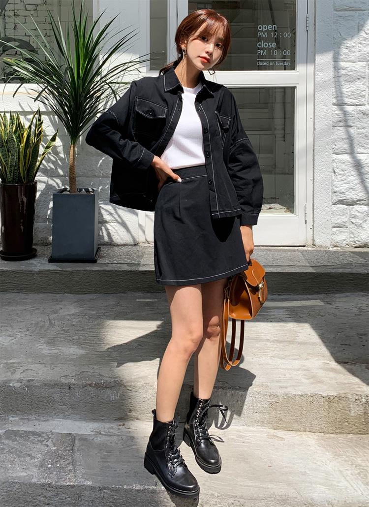ステッチジャケット&スカートSET・全4色
