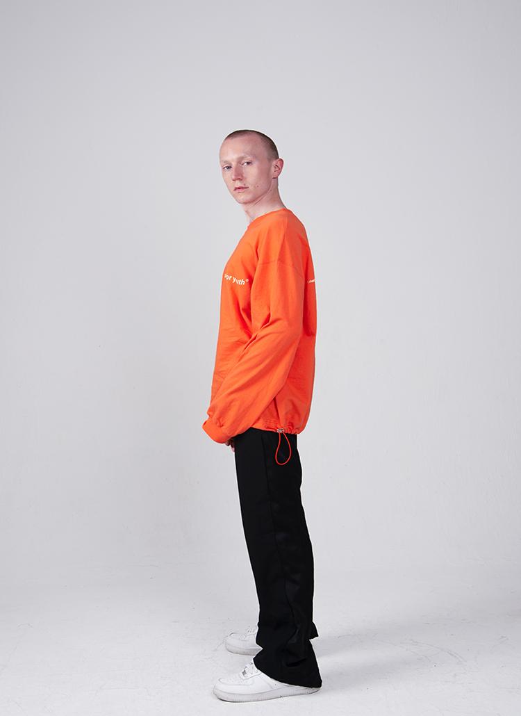 コットンレタリング長袖Tシャツ(オレンジ)
