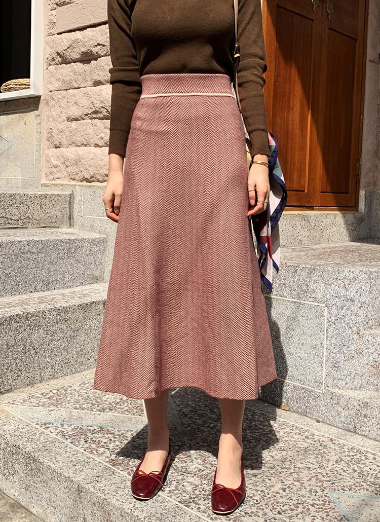 ヘリンボーンニットスカート・全2色