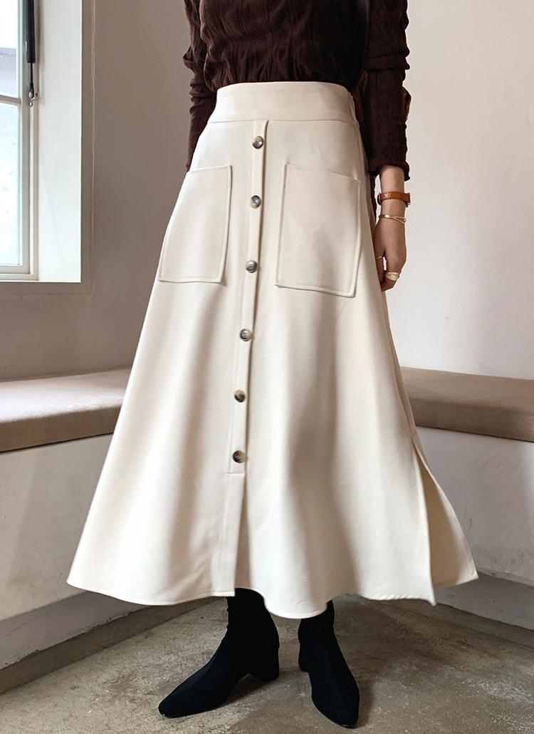 ボタンポケットフレアスカート・全3色